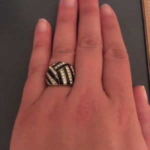 Black and silver cocktail ring
